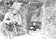 World War 2 Soldiers using hte Coleman G.I. Stove